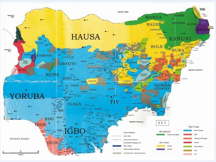 language map of Nigeria