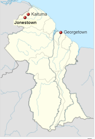 Location of Jonestown, Guyana